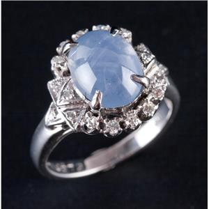 Vintage 1930's 18k White Gold Natural Star Sapphire & Diamond Ring 2.58ctw