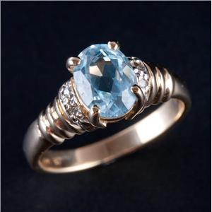 14k Yellow Gold Oval Cut Blue Topaz Solitaire Ring W/ Diamond Accents 1.64ctw
