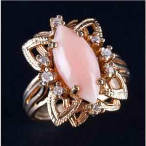 Vintage 1960s 14k Yellow Gold Marquise Cabochon Cut Coral & Diamond Ring 9.42ctw