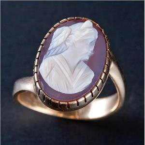 """Vintage 1930's 14k Yellow Gold Oval Cut """"A"""" Agate Female Bust Cameo Ring 4.9g"""