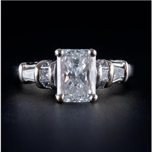 14k White Gold Radiant Cut Diamond Solitaire Engagement Ring W/ Accents 1.79ctw