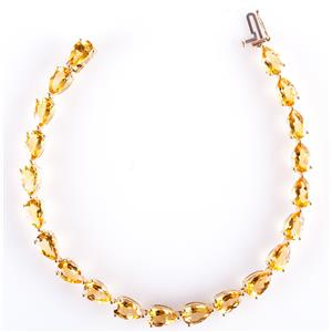 10k Yellow Gold Pear Cut AA Citrine Tennis Bracelet 16.5ctw