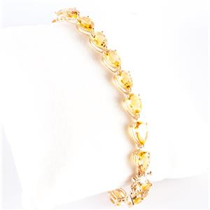 10k Yellow Gold Pear Cut AA Citrine Tennis Bracelet 16.5ctw