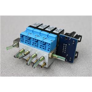 (Lot of 4) Parker Pneutronics 911-000006-020 Solenoid Valves w/ Manifold