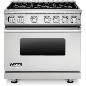 Viking Professional 7 Series 36 Inch 6 Sealed Burners SS Gas Range VGR73616BSS