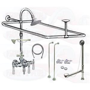 Chrome Clawfoot Tub Faucet Add-A-Shower Kit With P10C Head