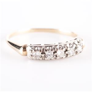 Vintage 1950's 14k Yellow & White Gold Diamond Wedding / Anniversary Ring .20ctw