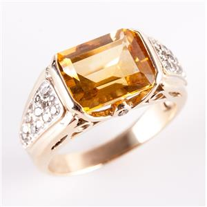 10k Yellow Gold Emerald Cut Citrine Solitaire Ring W/ Diamond Accents 3.28ctw