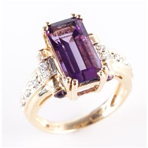 14k Yellow Gold Amethyst Solitaire Cocktail Ring W/ Diamond Accents 5.85ctw