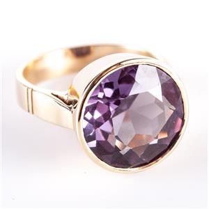Vintage 1960's 14k Yellow Gold Lab Alexandrite Bezel Set Solitaire Ring 7.59ct