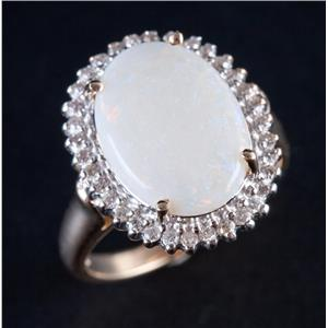10k Yellow Gold Oval Cabochon Cut Opal & Diamond Halo Style Ring 2.79ctw