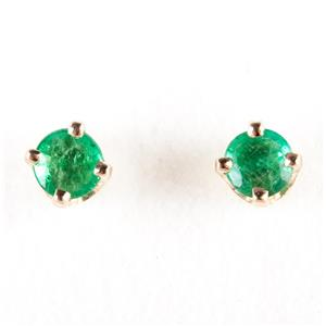 14k Yellow Gold Round Cut Natural Emerald Solitaire Stud Earrings .34ctw
