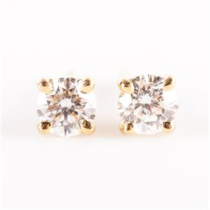 18k Yellow Gold Round Cut Diamond Solitaire Stud Earrings .30ctw