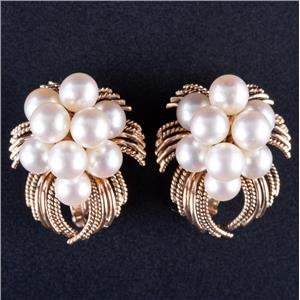 Vintage 1950s 14k Yellow Gold Cultured Freshwater Pearl Cluster Clip On Earrings