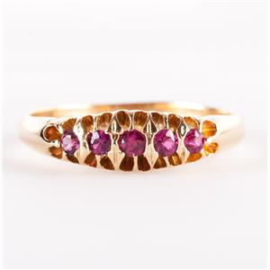 Vintage 1910's 18k Yellow Gold Old Round Cut Ruby Ring / Band .30ctw 3.0g