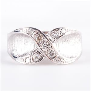 "Vintage 1960's 14k White Gold Round Cut Diamond ""X"" Style Ring .22ctw"
