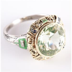 Vintage 1930's 14k Yellow & White Gold Round Cut Uranium Glass Solitaire Ring