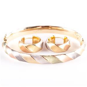 14k Quad Color Gold Italian Hinged Bangle Bracelet & Hoop Earring Set 9.4g