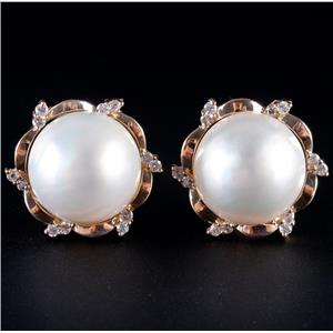 14k Yellow Gold Cultured Mabe Pearl & Diamond Clip On Huggie Earrings .36ctw