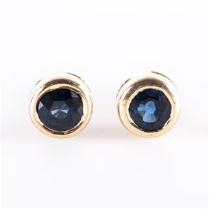 14k Yellow Gold Round Cut Sapphire Solitaire Bezel Set Stud Earrings .30ctw