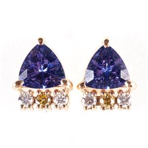 14k Yellow Gold Trillion Cut Tanzanite & Diamond Stud Earrings 2.53ctw