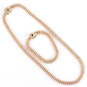 19k Yellow Gold Round Cut Garnet & Turquoise Necklace Bracelet Set .41ctw 72.9g