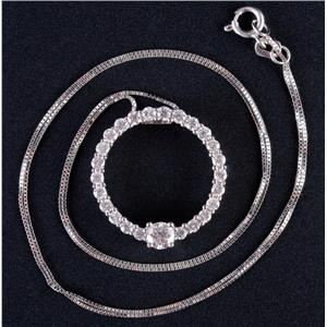 "14k White Gold Round Cut Diamond Circle Style Pendant W/ 18"" Chain .83ctw"