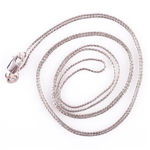 "Classic 14k White Gold Wheat Chain / Necklace 24"" Length 2.2g"