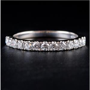 14k White Gold Round Cut Diamond Wedding Anniversary Ring / Band .39ctw