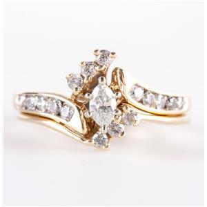 14k Yellow Gold Marquise Cut Diamond Engagement / Wedding Ring Set .51ctw