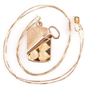 """14k Yellow Gold """"Henry Dankner"""" Rolled Up Tin Containing Hearts Necklace 7.3g"""