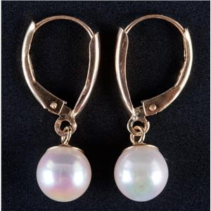 14k Yellow Gold Freshwater Cultured Pearl Solitaire Dangle Earrings 1.9g