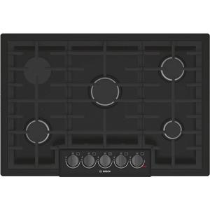 "Bosch 800 Series 30"" 5 Burner Red LED Black Stainless Gas Cooktop NGM8046UC IMGS"