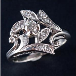 Vintage 1950's 14k White Gold Round Cut Diamond Floral Engagement Ring .285ctw