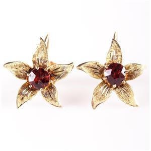 Vintage 1960's 10k Rose Gold Rose Cut Garnet Flower Clip On Earrings 1.0ctw