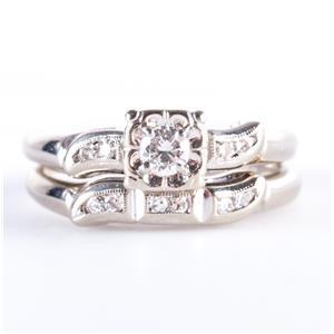 Vintage 1940's 14k White Gold Diamond Engagement / Wedding Ring Set .30ctw