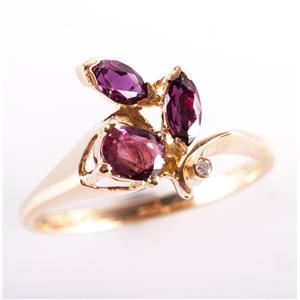 14k Yellow Gold Oval & Marquise Cut Ruby & Round Cut Diamond Ring .77ctw