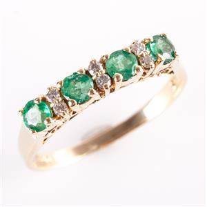 14k Yellow Gold Round Cut Emerald & Round Cut Diamond Band / Ring .53ctw
