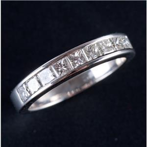Platinum Princess Cut Channel Set Diamond Wedding / Anniversary Band .90ctw