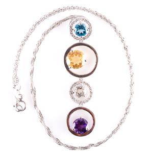 "14k White Gold Diamond & Multi-Gem Circle Style Pendant W/ 16"" Chain 2.77ctw"