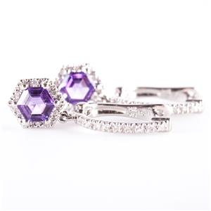 14k White Gold Hexagon Cut Amethyst & Diamond Halo Style Dangle Earrings 1.30ctw
