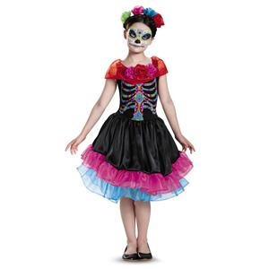 Day Of the Dead Senorita Skeleton Dress Child Girls Costume Large 10-12