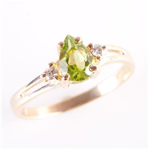 14k Yellow Gold Pear Cut Peridot Solitaire Ring W/ Diamond Accents .79ctw