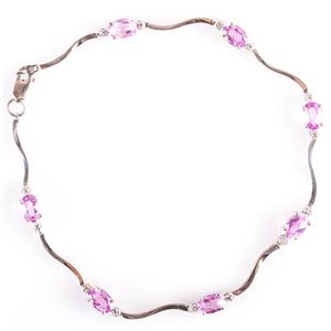 10k White Gold Oval Cut Baby Pink Topaz & Round Cut Diamond Bracelet 4.21ctw