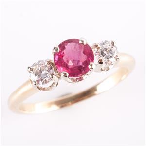 14k Yellow & White Gold Ruby & Diamond Three-Stone Engagement Ring 1.34ctw