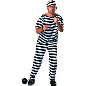 Prisoner Man Black and White Jail Bird Adult Costume