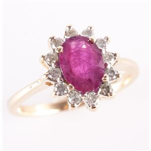 14k Yellow Gold Oval Cut Ruby & Round Cut Diamond Halo Style Ring .77ctw