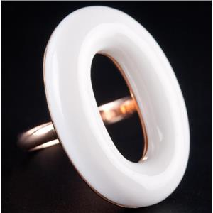 18k Rose Gold Oval Cut White Agate Solitaire Cocktail Ring 9.1g