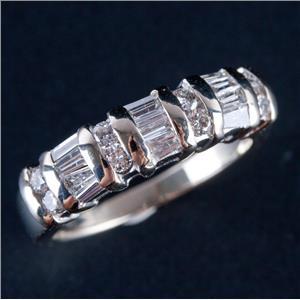 14k White Gold Round & Baguette Cut Diamond Wedding / Anniversary Ring .60ctw
