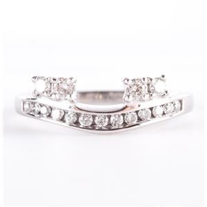 14k White Gold Round Cut Diamond Ring Enhancer / Guard .35ctw